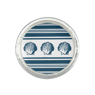 Seashells and stripes photo ring
