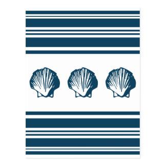 Seashells and stripes postcard