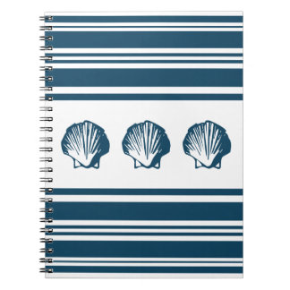 Seashells and stripes spiral notebook