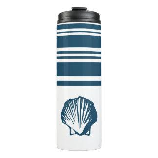 Seashells and stripes thermal tumbler