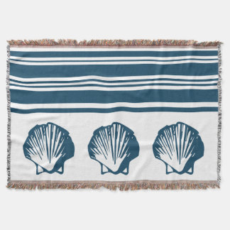 Seashells and stripes throw blanket