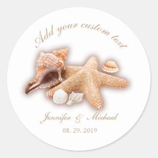 Seashells Beach Destination Wedding Custom Classic Round Sticker