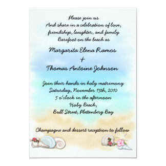 Seashells Beach Wedding Invitation or announcement