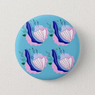 Seashells blue on white 2 inch round button