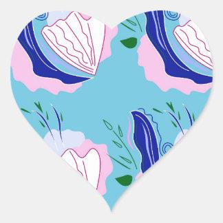 Seashells blue on white heart sticker