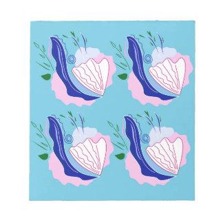 Seashells blue on white notepad