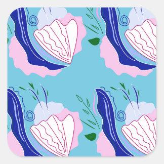 Seashells blue on white square sticker