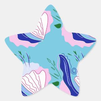 Seashells blue on white star sticker