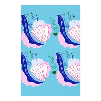 Seashells blue on white stationery