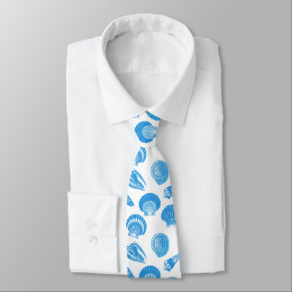 Seashells - Cerulean blue and white Tie