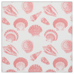 Seashells - coral pink and white fabric