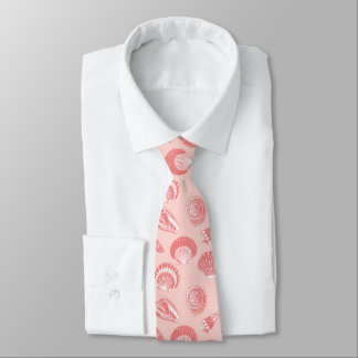 Seashells - coral pink and white tie