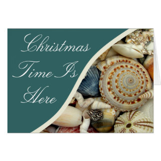 Seashells Dark Teal Tropical Christmas Card
