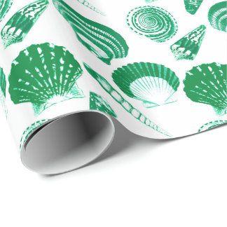 Seashells - emerald green on a white background wrapping paper