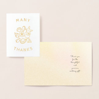 Seashells Gold Foil Custom Small Thank You Note Foil Card
