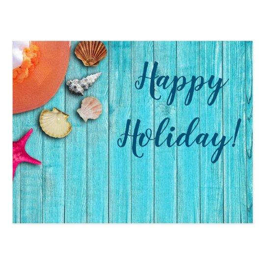 Seashells, hat and holiday postcard