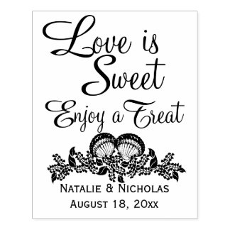 Seashells Love is Sweet Rubber Stamp