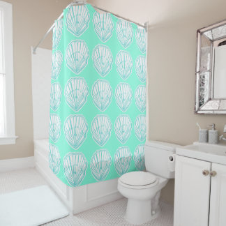 Seashells Mint and White Print Shower Curtain