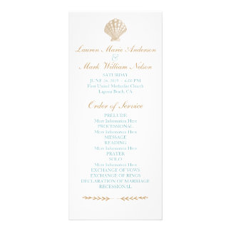 Seashells Nautical Beach Wedding Tan/Aqua Program