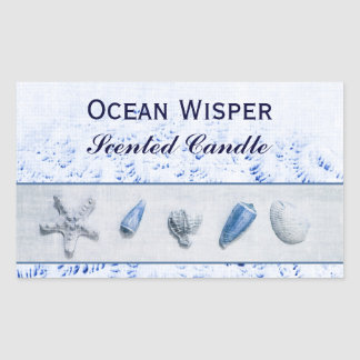 Seashells - ocean wisper candle label