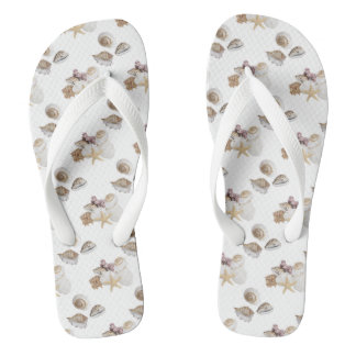 Seashells on flip flops