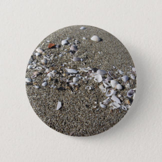 Seashells on sand. Summer beach background 2 Inch Round Button