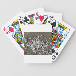 Seashells on sand. Summer beach background Bicycle Playing Cards