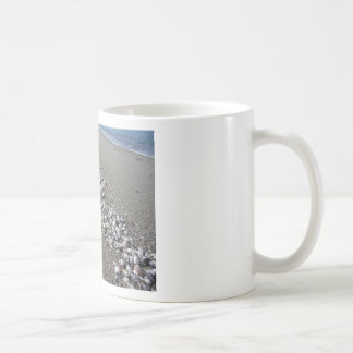 Seashells on sand. Summer beach background Coffee Mug