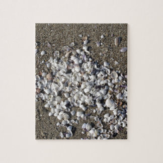Seashells on sand. Summer beach background Jigsaw Puzzle