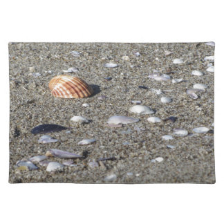 Seashells on sand. Summer beach background Placemat
