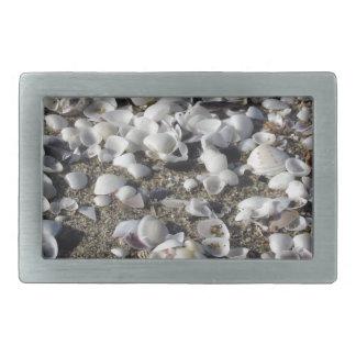 Seashells on sand. Summer beach background Rectangular Belt Buckle