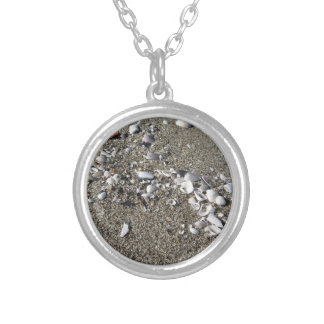 Seashells on sand. Summer beach background Silver Plated Necklace