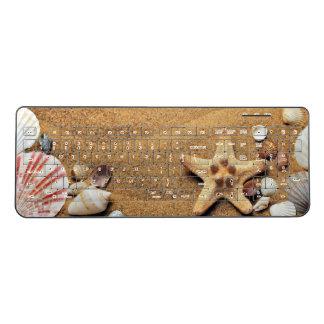 Seashells on Sandy Beach Wireless Keyboard