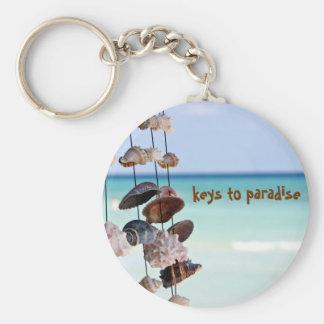 seashells on sea background keychain