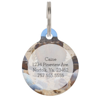 Seashells on the Beach by Shirley Taylor Pet Name Tag