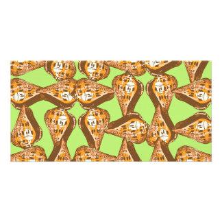 Seashells pattern personalized photo card