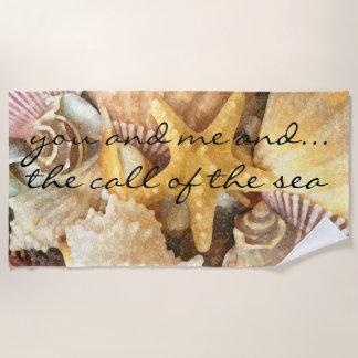 Seashells Pattern Sea Message Beach Towel