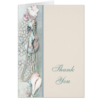 Seashells Pearls Tropical Beach Thank You Card