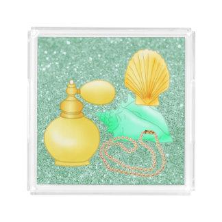 Seashells & Perfume Soft Yellow & Green Perfume Tray