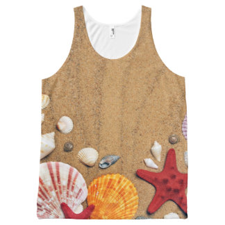 Seashells Starfish Sandy Beach All-Over-Print Tank Top