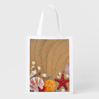Seashells Starfish Sandy Beach Reusable Grocery Bags
