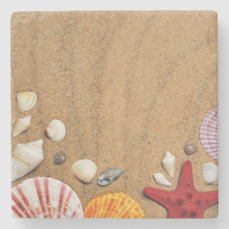 Seashells Starfish Sandy Beach Stone Coaster