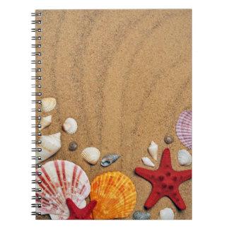 Seashells Starfish Sandy Beach Stone Coaster Spiral Note Book