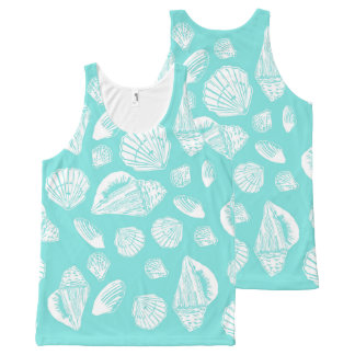 Seashells Turquoise All-Over Print Unisex Tank Top