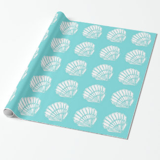 Seashells with Turquoise Wrapping Paper