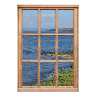 Seashore / Coastal Window View Trompe L'oeil Poster