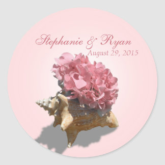 Seashore Hydrangea Pink Classic Round Sticker
