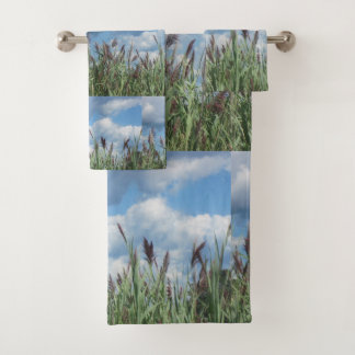 Seashore Marsh and Blue Sky Bath Towel Set