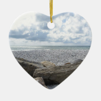 Seashore of a beach in a cloudy day at summer ceramic heart ornament