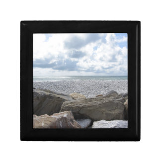 Seashore of a beach in a cloudy day at summer gift box